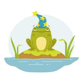 Een kikker in een moeras in de hoed van een tovenaar