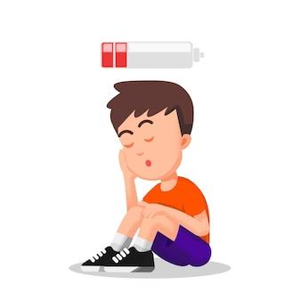 Een kind dat zit en zich moe voelt