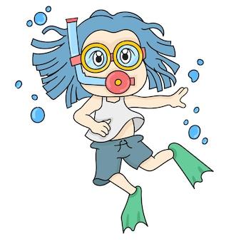 Een kind duikt in het water. cartoon illustratie sticker emoticon