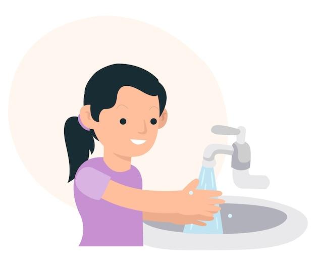 Een kind wast zijn handen om het covid-19-virus te vermijden