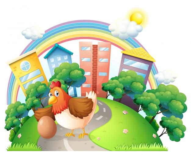 Een kip en haar ei op de weg