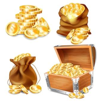 Een kist van goud. cartoon oude houten kist