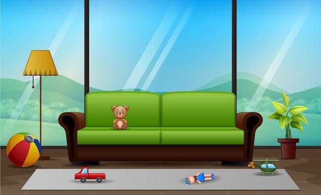 Een klassieke woonkamer met kinderspeelgoed op de vloer
