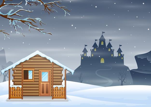 Een klein houten huis en silhouetkasteel op de heuvel