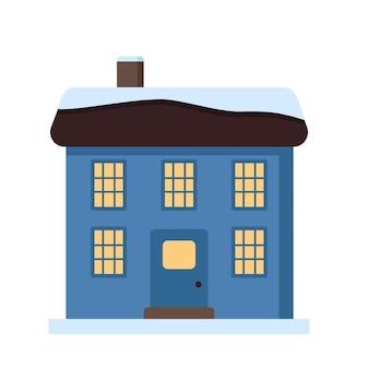 Een klein huis met een helder dak in het sneeuwlicht in de ramen vrolijke feestelijke decoraties voor de ...