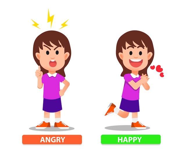 Een klein meisje dat zich boos en blij voelt