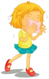 Een klein meisje met verkoudheid
