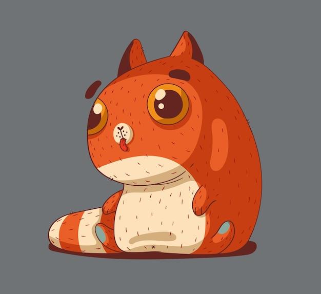 Een klein schattig rood katje wast zich 's avonds netjes