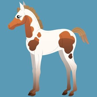 Een klein veulen met vlekken staat. paarden pictogrammen vlakke stijl. vector geïsoleerde illustratie