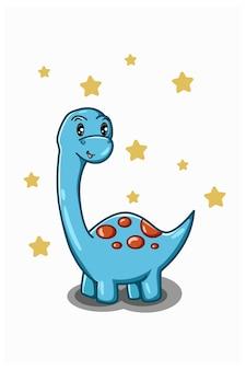 Een kleine blauwe dinosaurus met ster