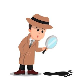 Een kleine detective observeert grote voetafdrukken