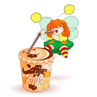 Een kleine fee drinkt een zoete koffie