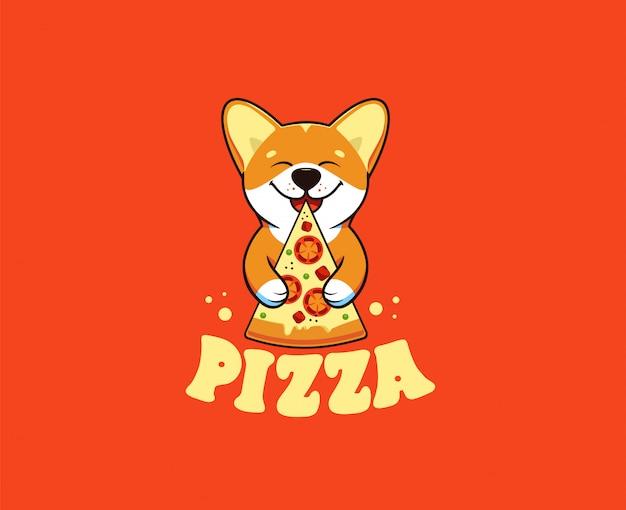 Een kleine hond eet pizza, logo. grappige corgi stripfiguur, voedsel logo