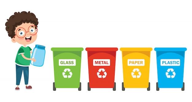 Een kleine jongen die afval recycleert