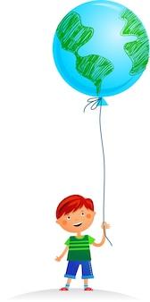 Een kleine jongen met aardeballon