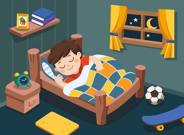 Een kleine jongen slaapt vanavond op dromen
