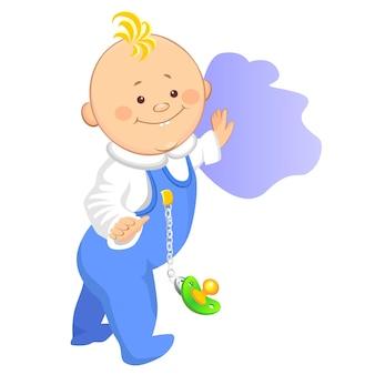 Een kleine jongen zet de eerste stap en houdt zich vast aan de muur, een van een reeks soortgelijke afbeeldingen