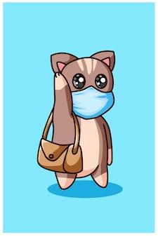 Een kleine kat die een masker draagt en een tas draagt