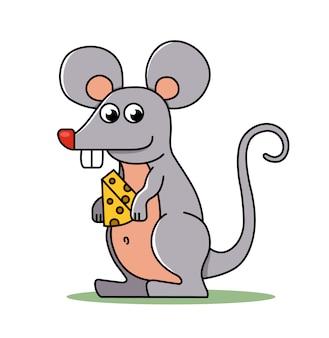 Een kleine muis houdt een stuk kaas in zijn poten.
