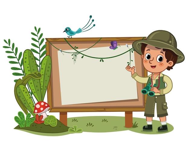 Een kleine ontdekkingsreiziger die voor een leeg displaybord staat vectorillustratie