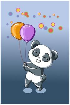 Een kleine panda brengt twee ballonnen