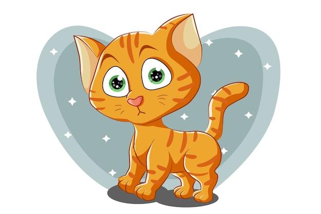 Een kleine schattige oranje kat met groene ogen, cartoon afbeelding