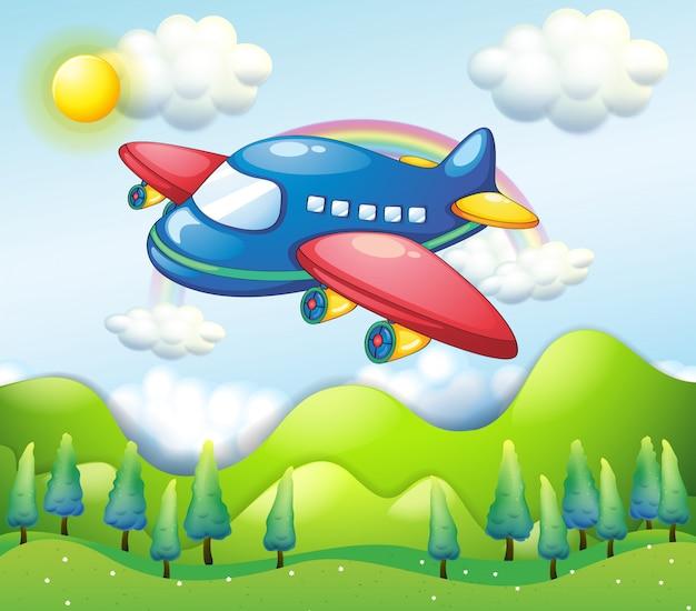 Een kleurrijk vliegtuig boven de heuvels