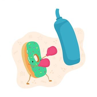 Een kleurrijke illustratie van een donutdoos