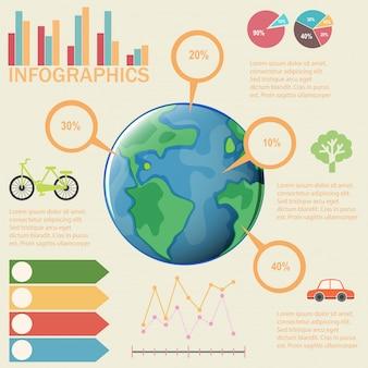 Een kleurrijke infographic van de aarde