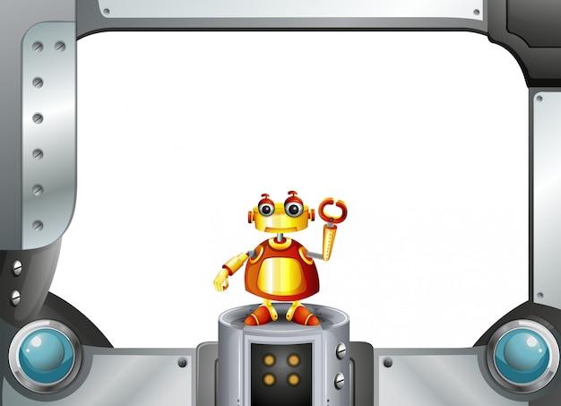 Een kleurrijke robot in het midden van het lege frame