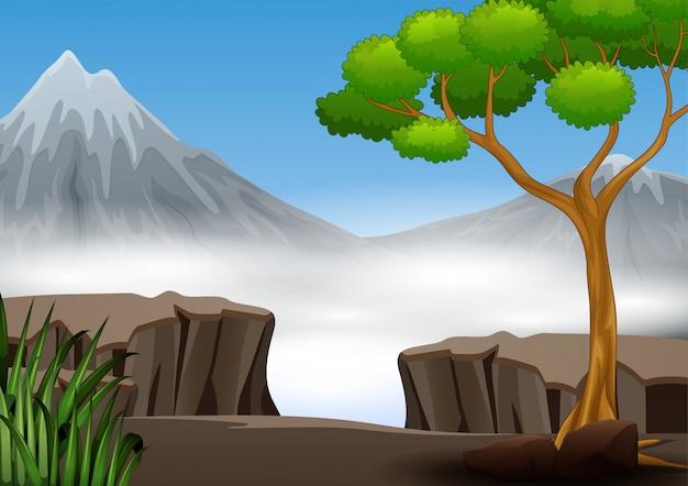 Een klif in het bos met de aardlandschap van de bergmening