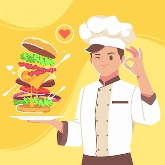 Een knappe chef kookt hamburgers