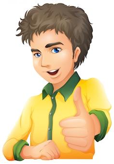 Een knappe jongeman met een handsignaal
