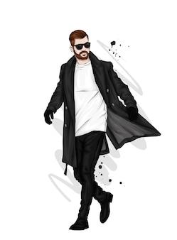 Een knappe man in een lange jas, broek, schoenen en bril. illustratie.