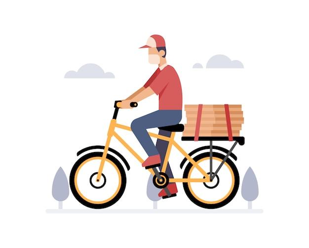 Een koerier bezorgt een pizza met behulp van een fietsillustratie