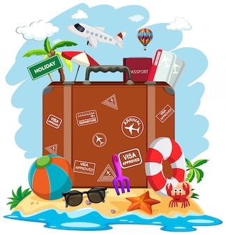 Een koffer in de zomerstrand