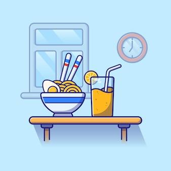 Een kom noedels en gekookt ei en sinaasappelsap.