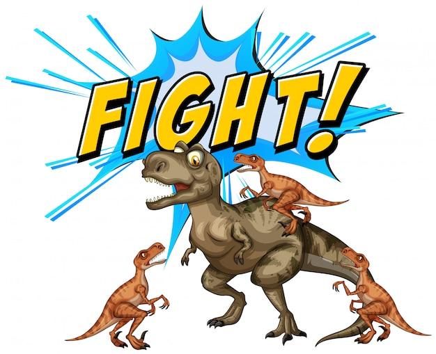 Een komische dinosaurussenvlucht op witte achtergrond