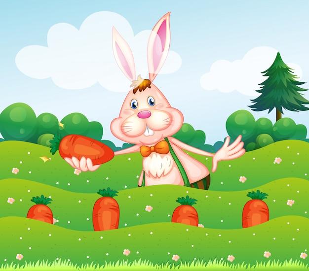 Een konijn dat een wortel houdt bij de tuin