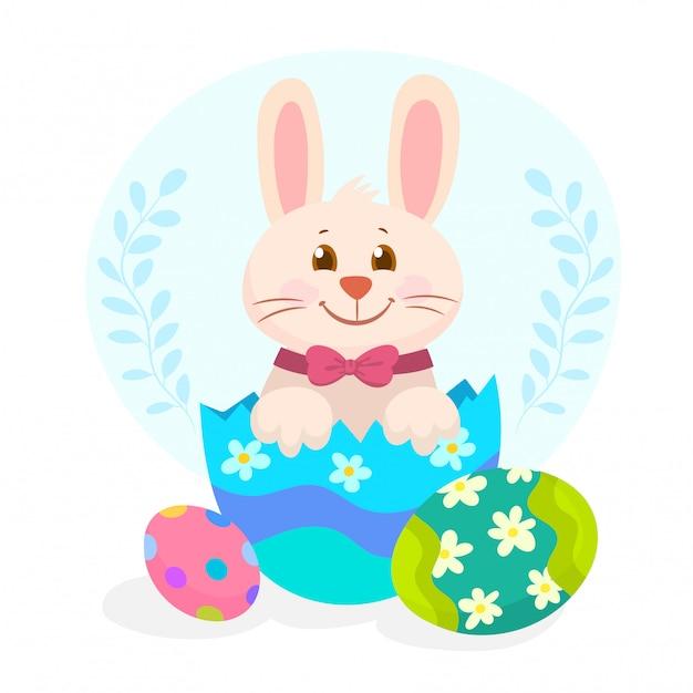 Een konijn in een gebarsten paasei