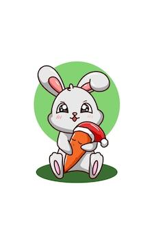 Een konijn knuffelt de wortel met kerstmuts