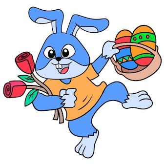 Een konijn met een vrolijk gezicht met een mand gevuld met paaseieren, doodle draw kawaii. illustratie kunst
