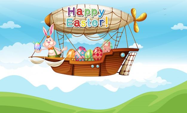 Een konijntje en de kleurrijke eieren