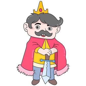 Een koningskoning arthur draagt wijselijk het zwaard van rechtvaardigheid, vectorillustratieart. doodle pictogram afbeelding kawaii.