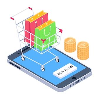 Een koop nu-concept in isometrisch pictogram voor e-commerce