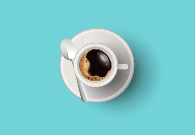 Een kop koffie en schotel, bovenaanzicht, realistische vector