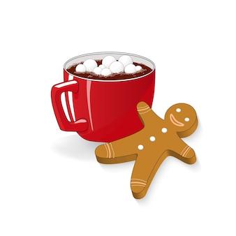 Een kopje cacao marshmallow gingerbread-koekje. kerstvakantie snack
