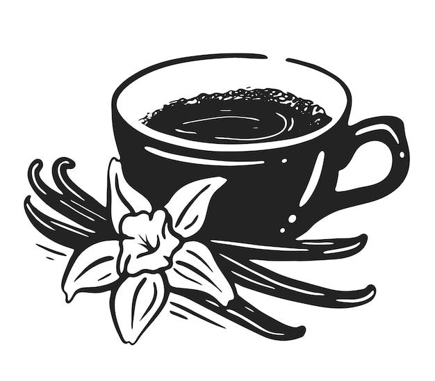 Een kopje koffie met vanille en kaneel. zwart-wit afbeelding
