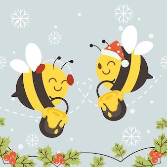 Een koppel houdt van een bij die een tank met honing vasthoudt en kerstkostuum draagt in vlakke stijl.