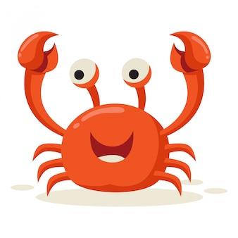 Een krab ziet er blij uit na het zien van de prooi